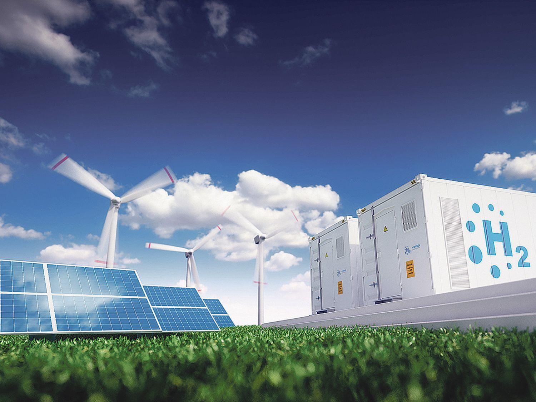 Photovoltaikanlage, Windräder und Wasserstoff-Verarbeitungsanlage auf grüner Wiese.