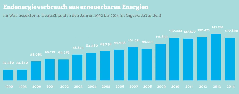 Grafik zum Endenergieverbrauch aus erneuerbaren Energien. Quelle: BMWI, 2015