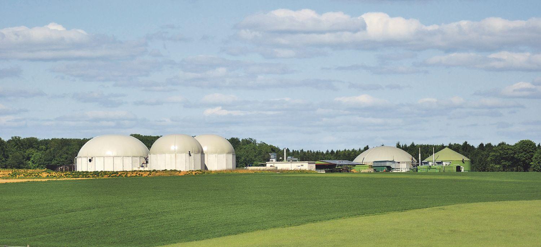 Biogasanlagen zwischen Feldern. Bei der Energiewende spielen sie eine nicht unwesentliche Rolle