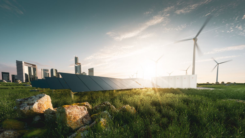 verschiedene Stromspeicher für erneuerbare Energie.