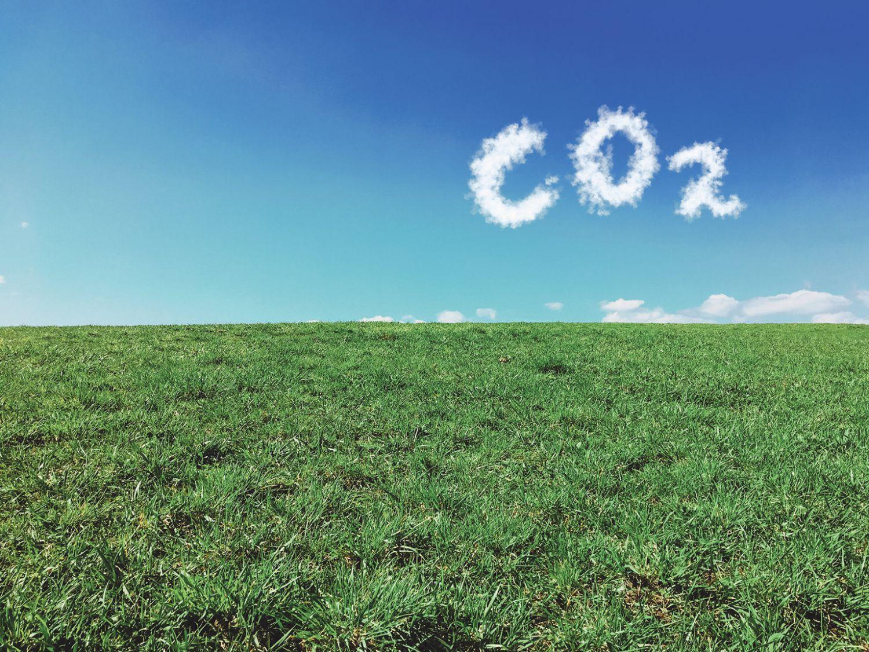Wolken bilden den Schriftzug CO2 über einer grünen Wiese