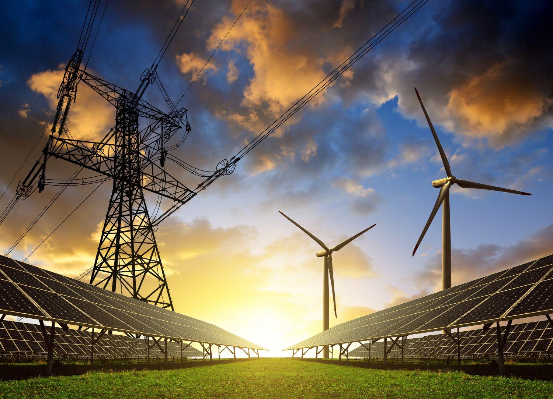 Wind- und Photovoltaikanlagen auf einem Feld: Sie zählen zu Trägern der regenerative Energien.